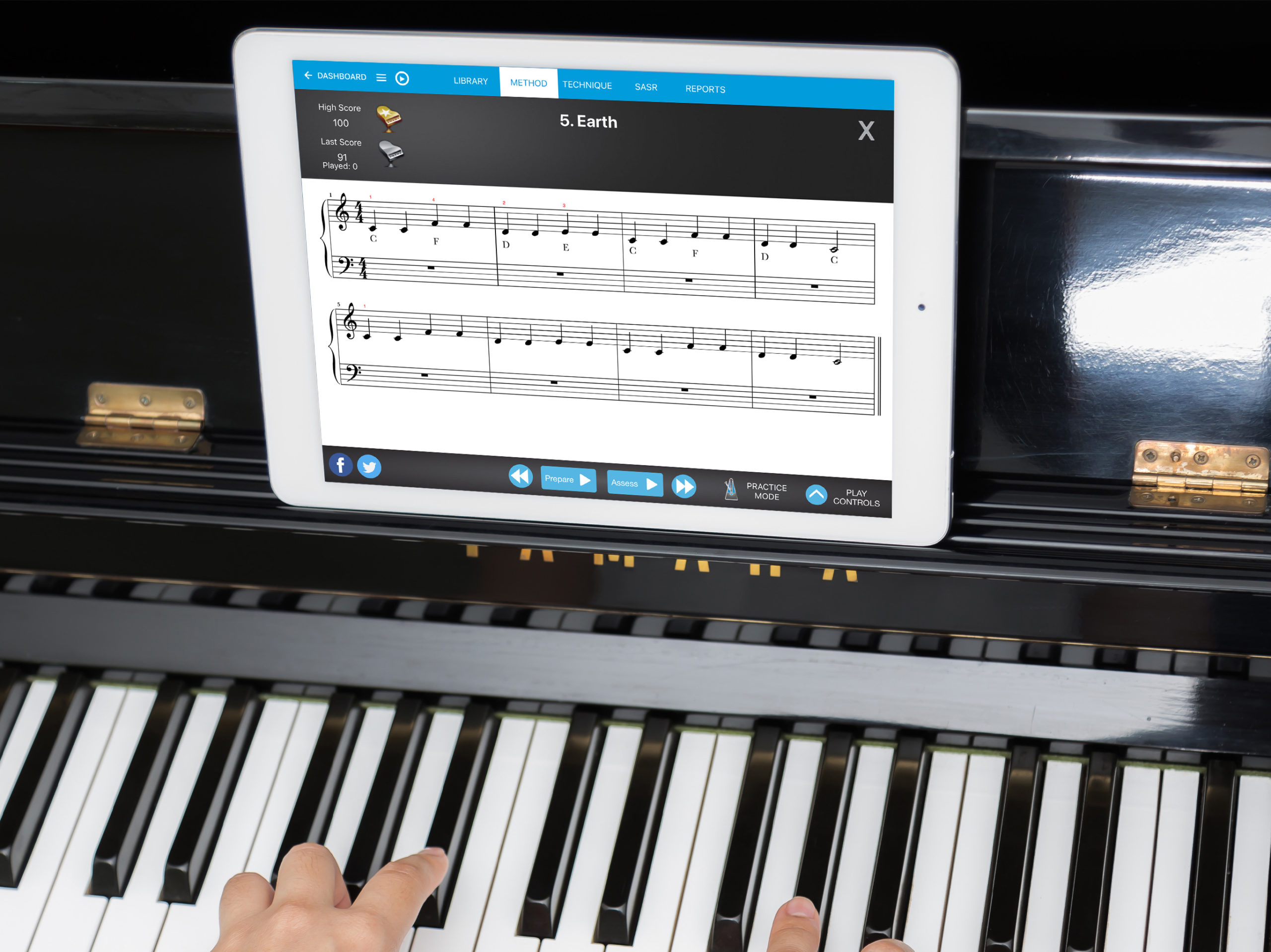 Piano Marvel being used on an iPad